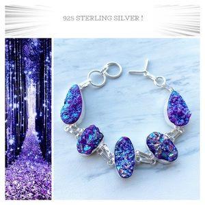 925 Sterling silver purple druzy boho bracelet